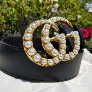 Leather belt with pearl double G buckle ONF
